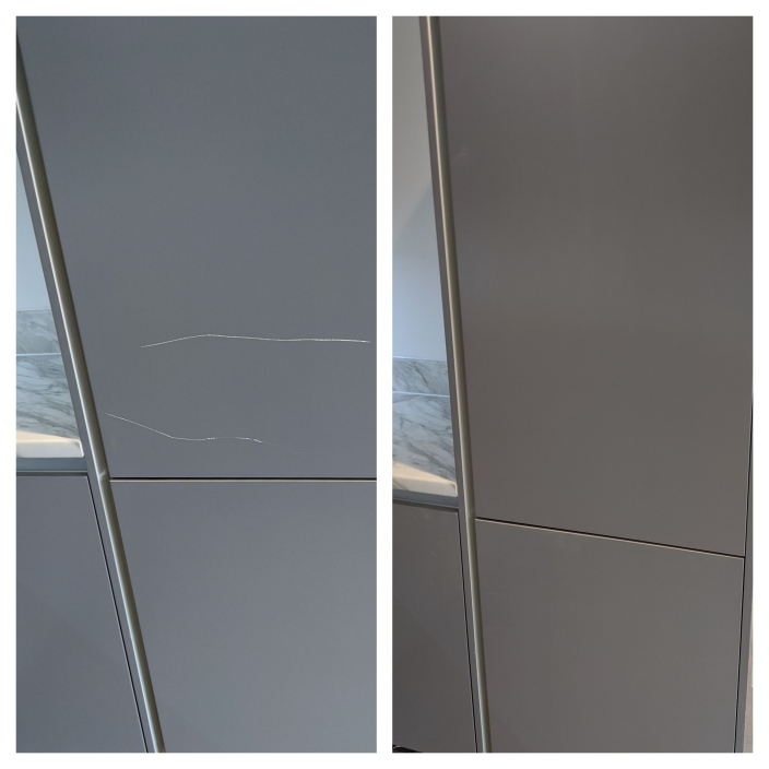 Repair to scratched and chipped kitchen cabinet doors